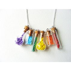 Little Rainbow Bottle Necklace. Miniature Jars. Rainbow Bottles. Tiny... ($26) ❤ liked on Polyvore