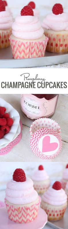 Bubbly champagne and fresh raspberries come together in this delicious Valentine's Day cupcake. Bake Champagne & Raspberry Cupcakes for your Valentine! Raspberry Cupcakes, Yummy Cupcakes, Raspberry Buttercream, Vanilla Cupcakes, Icing Cupcakes, Breakfast Cupcakes, Mocha Cupcakes, Heart Cupcakes, Gourmet Cupcakes