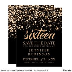 Sweet  Save The Date Gold Midnight Glam Card Elegant Sweet  Sixteen Birthday Party Design With Gold Midnight Glam Under The Stars Motif