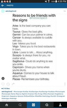 "Photo: ""Reasons to be friends with the signs"" source: (technically) horoscope.m ⭐Stargazer⭐"