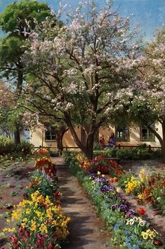 Peder Mork Monsted, A grandmother with her grandchild in a flowering garden in front of a small farmhouse