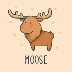 Cartoon Cartoon, Moose Cartoon, Cartoon Drawings Of Animals, Cartoon Kunst, Cute Animal Drawings, Kawaii Drawings, Easy Drawings, Doodles Kawaii, Cute Doodles