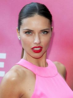 Adriana Lima - #pink halter dress and bold red lips-- it can be done! #makeup
