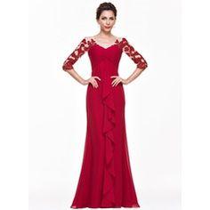 Empire V-neck Floor-Length Chiffon Evening Dress With Appliques Lace Cascading Ruffles
