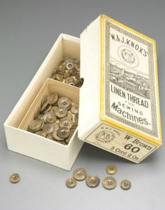 Tailor's Box of buttons, cardboard / plastic / cotton / ink, box made by W & J Knox, England, used by Ron and Maxwell Gillman, Wagga Wagga, New South Wales, Australia, 1918-2003
