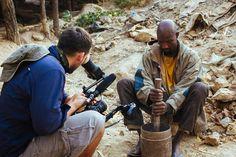 Jasyn Filming Traditional Miner Crushing up Rocks