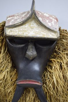 Mask African Kwele Gabon Gorilla Raffia Fearsome Mask Handmade Wood Red Mouth Gorilla Mask Gabon Handmade Spirits Fangs Power Mask Gorilla