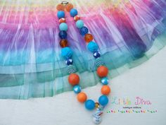 Orange Snowman with Blue Bubblegum Necklace by LittleDivaBubblegum, $22.00
