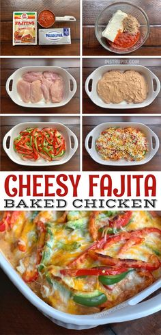 Cheesy Fajita Baked Chicken Looking for quick and easy chicken dinner recipes? This one pan oven baked cheesy fajita baked chicken is a fabulous family meal! It's healthy, low carb, keto friendly, cheap and still great for picky eaters! Healthy Dinner Recipes For Weight Loss, One Pan Dinner Recipes, Easy Chicken Dinner Recipes, Easy Healthy Dinners, Healthy Recipes, Pasta Recipes, Healthy Meals Picky Eaters, Quick Chicken Dinner Recipes, Easy Chicken Dishes