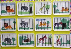 """zoo: use styrofoam meat trays and """"sew"""" strings to be the cage bars. Add the animals....you can even string them together to make it a train"""