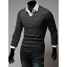 Simple Solid Color Long Sleeves V-Neck T-Shirt For Men