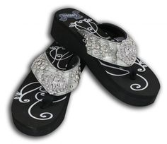 """Showman Couture™ Ladies western bling flip flops with barrel racer concho. These wedge style western bling flip flops feature a 1-3/4"""" wedge with a 1-1/2"""" gray band with crystal rhinestone barrel race"""
