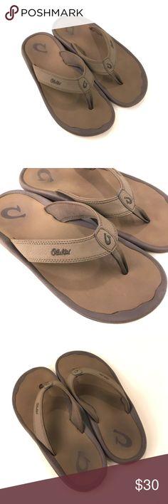 OluKai Ohana Flip Flops Men's 12 M Brown and Tan OluKai Ohana Men's Flip Flops. Size 12 M. Signs of wear. Still in good condition. Tread on bottom is still in great condition. Very comfortable. Very lightweight. OluKai Shoes Sandals & Flip-Flops