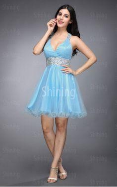 Light Sky Blue Ball Gown Short V-neck Dress £47.00