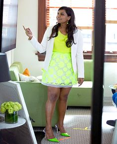 Mindy Project costume designer Salvador Perez tells Us Weekly who makes the amazing neon skirt and white blazer from the Sept. 30 episode.