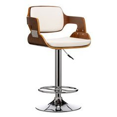 Fusion Living Walnut Wood and Ivory White Faux Leather Retro Bar Stool Bar Stools Uk, Vintage Bar Stools, White Bar Stools, Bar Stools With Backs, Bar Stool Chairs, Leather Bar Stools, Modern Bar Stools, Island Stools, High Chairs