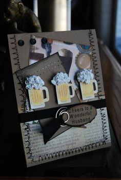 Cheers for Hubby by Darla Ryan - Cards and Paper Crafts at Splitcoaststampers Masculine Birthday Cards, Birthday Cards For Men, Handmade Birthday Cards, Masculine Cards, Boy Cards, Fathers Day Crafts, Paper Cards, Creative Cards, Scrapbook Cards