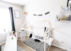 Black and White Monochrome Room done right! Striking Black and White Crib Sheet perfect for boy or girl for years to come! Stylish black and white nursery! Crib sheet by Where the Polka Dots Roam