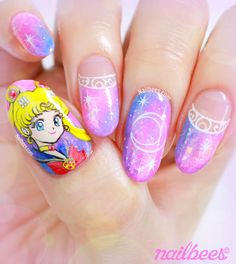 My Sailor Moon nail art video. Sailor Moon is my favourite childhood character and I'm so happy to finally have this on my nails! Kawaii Nail Art, Cute Nail Art, Gel Nail Art, Uñas Sailor Moon, Sailor Moon Nails, Love Nails, Pretty Nails, Disney Acrylic Nails, Anime Nails