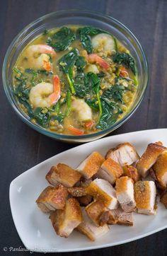 Shrimp Monggo with Lechon Kawali Panlasang Pinoy_ Chamorro Recipes, Pork Recipes, Gourmet Recipes, Cooking Recipes, Healthy Recipes, Healthy Meals, Recipies, Healthy Eating, Filipino Dishes