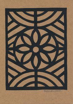 Hand Paper Cut Flower Window Frame Greetings Card - papertree