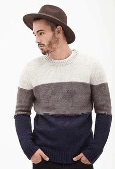 Knitting Patterns Men Jersey Color-Block - Sweaters and cardigans - 2000137353 - Forever 21 EU Mens Fashion Sweaters, Casual Sweaters, Hand Knitted Sweaters, Wool Sweaters, Sweater Outfits, Men Sweater, Mens Knit Sweater Pattern, Handgestrickte Pullover, Mode Masculine