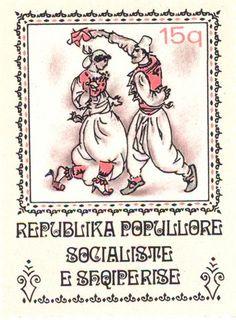 Albania  -  Man and woman in kerchief dance