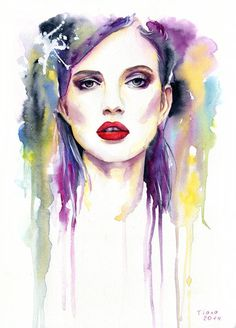 dare to kiss me by cora tiana - Watercolor Paintings by Cora and Tiana  <3 <3