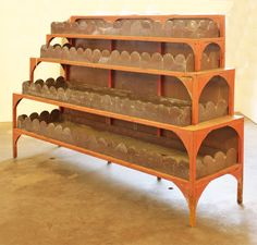 From an Earl Hart Miller designed estate in Tennessee this fabulous 4 level berry planter from painted steel & scalloped copper liners. Available at Lucas Street Antiques 2023 Lucas Dr Dallas, Texas 75219  (214) 789-5185   SOLD