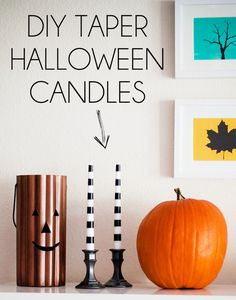 ONLY $3 for both of these black and white striped Halloween taper candles! #halloween #falloween #diyproject
