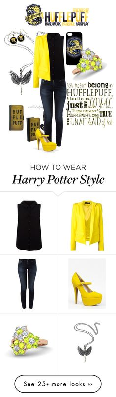 """""""Hufflepuff and Proud"""" by musie-della on Polyvore featuring Nudie Jeans Co., Yumi, Alexandre Vauthier, Qupid, Gemvara, harrypotter, Hufflepuff and blackandyellow"""