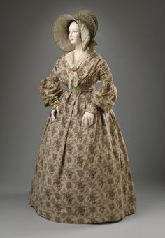 Dress: ca. 1836-1837, English, roller-printed cotton calico.