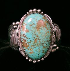 Vintage ROY BUCK Navajo HUGE Turquoise Sterling Cuff Native American