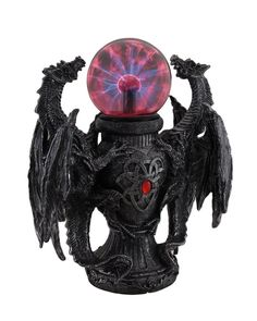 """When turned on, the clear glass ball will charge and flash with red lightning, illuminating your room! · This exotic sculpture stands at 11"""" tall, 9.75"""" long and 5.5"""" deep. URBAN STATUE.   eBay!"""