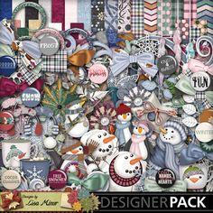 Flaky Friends Digital Scrapbook Kit, winter scrapbook, snowman scrapbook, penguin scrapbook, snow scrapbook, blue scrapbook, snow scrapbook
