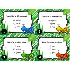 Cartes à tâches : Le déterminant Classroom Arrangement, French Phrases, School Tool, French Resources, French Class, Cycle 3, Inference, Teaching French, Learn French