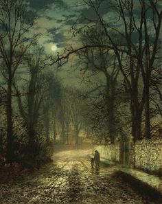 John Atkinson Grimshaw's  'A Moonlit Lane' 1874, oil on card. Photo by Plum leaves, via Flickr