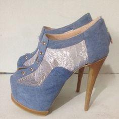 Shoespie Denim Blue Lace Inset Platform Ankle Boots