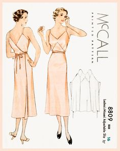 1930s 30s vintage lingerie sewing pattern Art Deco wrap dress slip negligee bust 34 b34 McCall 8809 repro reproduction by LadyMarloweStudios on Etsy