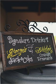Signature Drinks- cute idea.