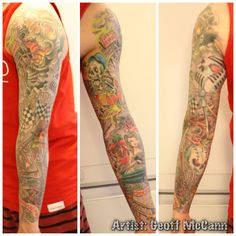 """No regrets roller coaster theme tattoo. Roller coaster track starts from skull mouth and ends in the light at the end of the tunnel.  the banner above the tunnel reads . """" when all else is lost the future still remains""""  Throughout the piece is some of his favorite things. Music, baseball, wife, classic car. Dark roses represent negatives and light roses represent positives in life. The skull in the cart represents him on his journey in life. Artist: Geoff McCann"""