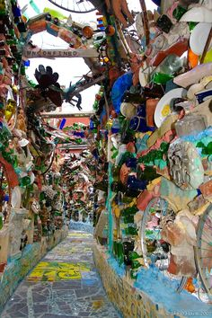 Isaiah Zagar's Magic Garden in Philadelphia. The mosaic artist has devoted himself to beautifying the South Street neighborhood since the late 1960s, when he and his wife moved there. Their work spurred a revitalization of the area. Philadelphia's Magic Gardens is now a permanent art institution that is open to visitors throughout the year. Photo by Sky O'Mara