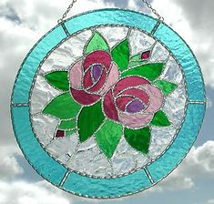 """Pink Roses Art Nouveau Stained Glass Suncatcher - 9"""" Circle - $36.95"""
