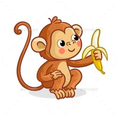 Buy The Monkey on a White Background Eats a Banana by svaga on GraphicRiver. The monkey on a white background eats a banana. Vector illustration with a cute animal from Africa. Cartoon Sea Animals, Jungle Animals, Cute Animals, Cartoon Turtle, Cartoon Drawings, Easy Drawings, Animal Drawings, Gaming, Animaux