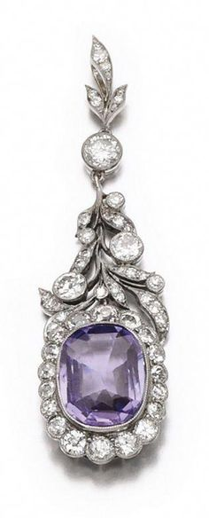 Tilander - An antique sapphire and diamond pendant, early century. The cushion-shaped purple sapphire within a frame and suspension of foliate deisign set with circular-cut diamonds, signed A. Sapphire Necklace, Sapphire Jewelry, Diamond Pendant Necklace, Amethyst Pendant, Purple Sapphire, Platinum Engagement Rings, Unique Necklaces, Necklace Designs, Jewelery