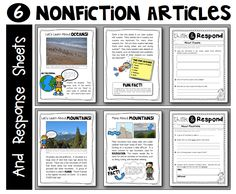 "Sample nonfiction articles and student response sheets for ""Learning About Landforms"" {Supplemental materials for grades 1-2} 46 pages, $"