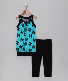 Take a look at this Blue Bow Tunic & Black Leggings - Toddler & Girls by No Kidding on #zulily today!