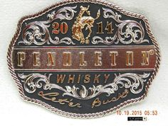 """BELT BUCKLE: PENDLETON WHISKY! 2014! """"LET'ER BUCK""""! MONTANA SILVERSMITHS! AS IS! #Unbranded #Casual"""