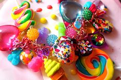Sweet Stuff Candy Trinkets and Treasures Charm Bracelet - Candy, Cupcake Sprinkles and Glitter Resin | by athinalabella1