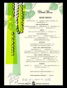 1956 menu room service menu from Pikake Room, Princess Kaiulani - Waikiki,